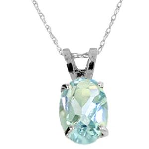 STERLING SILVER NECKLACE WITH NATURAL AQUAMARINE